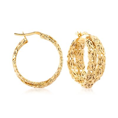 14kt Yellow Gold Byzantine Crisscross Hoop Earrings, , default