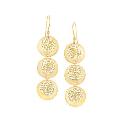 Italian 14kt Yellow Gold Filigree Linear Drop Earrings , , default