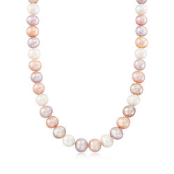 "10-12mm Multicolored Cultured Pearl Necklace With Sterling Silver. 18"", , default"