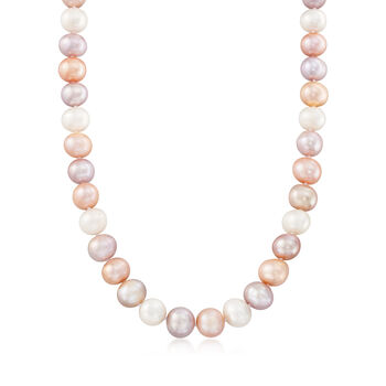 """10-12mm Multicolored Cultured Pearl Necklace With Sterling Silver. 18"""", , default"""