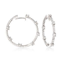 "2.10 ct. t.w. Diamond Inside-Outside Hoop Earrings in 14kt White Gold. 1"", , default"