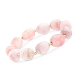 Pink Opal Bead Stretch Bracelet With 14kt Yellow Gold, , default