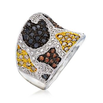 C. 2000 Vintage 1.56 ct. t.w. Multicolored Diamond Animal Print Ring in 14kt White Gold. Size 7, , default