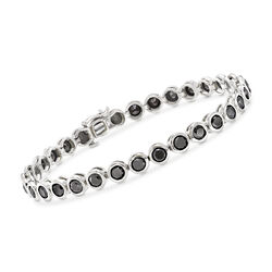 8.00 ct. t.w. Bezel-Set Black Diamond Tennis Bracelet in 14kt White Gold, , default