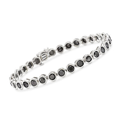 8.00 ct. t.w. Bezel-Set Black Diamond Tennis Bracelet in 14kt White Gold, , default