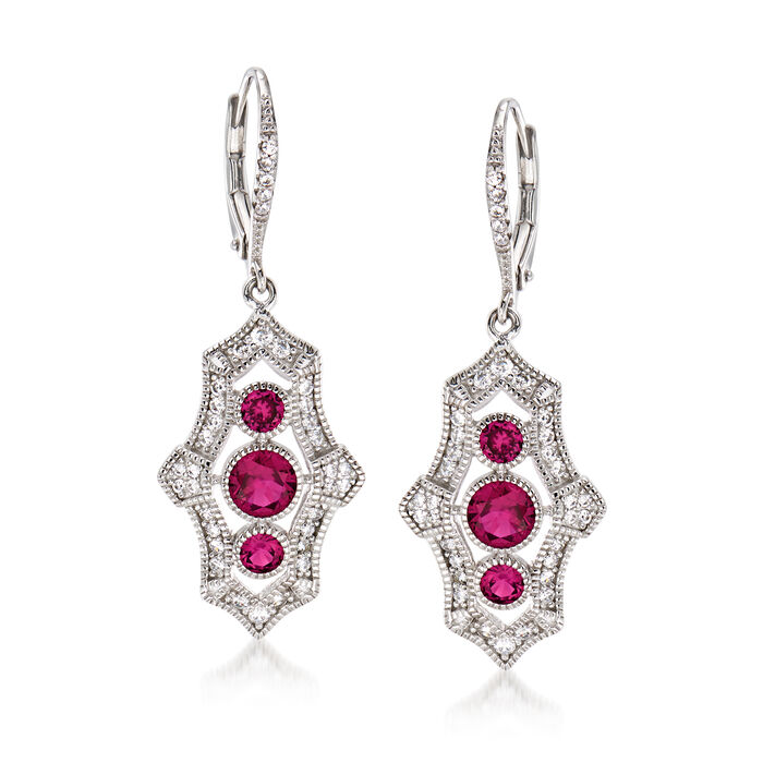 1.40 ct. t.w. Simulated Ruby and .55 ct. t.w. CZ Drop Earrings in Sterling Silver