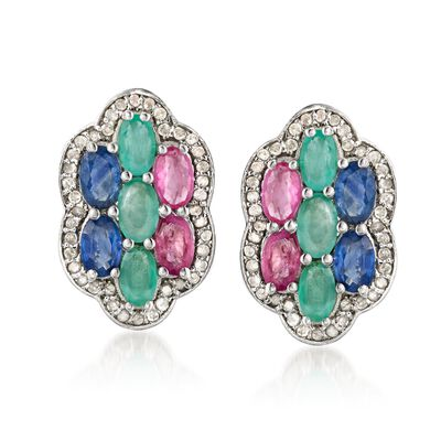 3.20 ct. t.w. Multi-Stone Floral Earrings with .44 ct. t.w. Diamonds in Sterling Silver, , default