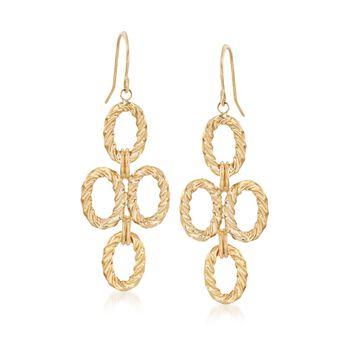 14kt Yellow Gold Multi-Oval Drop Earrings, , default