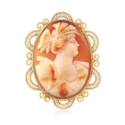 C. 1960 Vintage Carved Shell Cameo Pin in 14kt Yellow Gold, , default