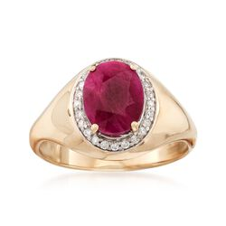 2.20 Carat Burmese Ruby and .12 ct. t.w. Diamond Ring in 14kt Yellow Gold, , default