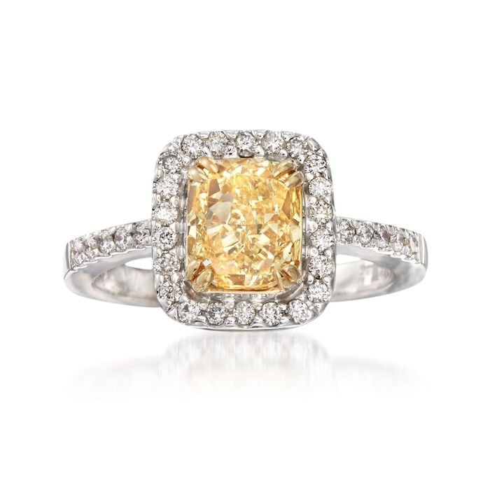 2.33 ct. t.w. Certified Yellow and White Diamond Ring in 18kt White Gold, , default