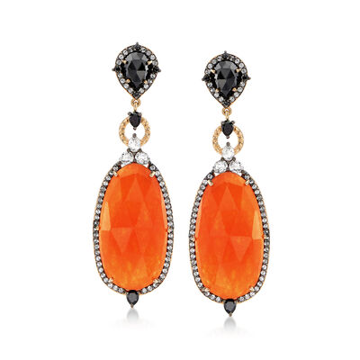 Orange Quartz and 6.70 ct. t.w. Multi-Stone Earrings With Black Spinel in 14kt Gold Over Sterling, , default