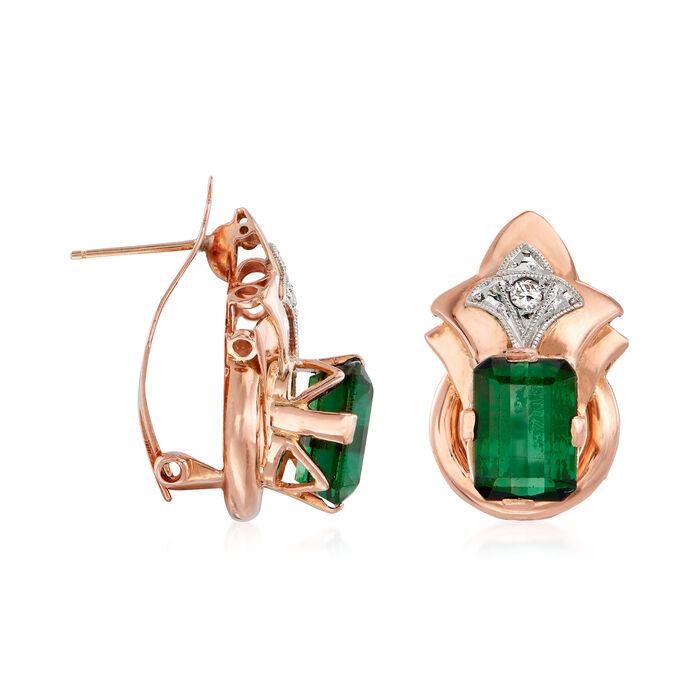 C. 1940 Vintage 4.40 ct. t.w. Green Tourmaline Earrings in 18kt Rose Gold