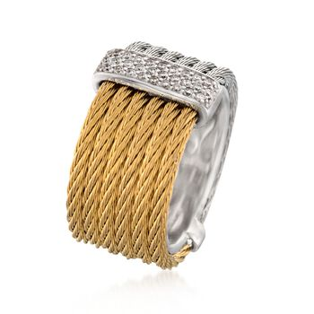 """ALOR """"Classique"""" .23 ct. t.w. Diamond Two-Tone Stainless Steel Cable Ring with 18kt White Gold. Size 7"""