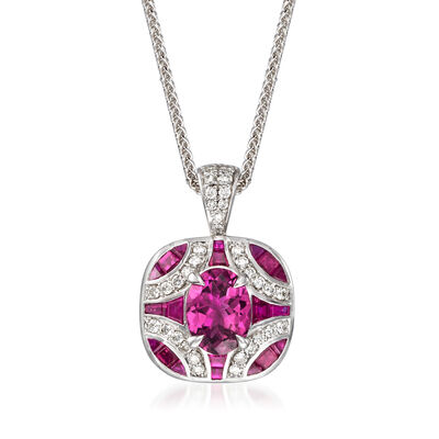 .90 ct. t.w. Pink Tourmaline and .80 ct. t.w. Ruby with .30 ct. t.w. Diamond Pendant Necklace in 14kt White Gold, , default