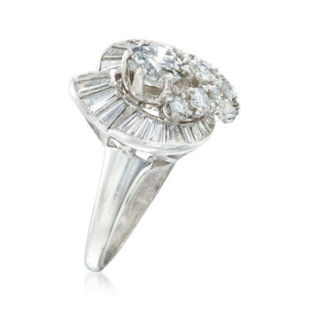 C. 1970 Vintage 2.20 ct. t.w. Round and Baguette Diamond Ring in Platinum. Size 6.5, , default