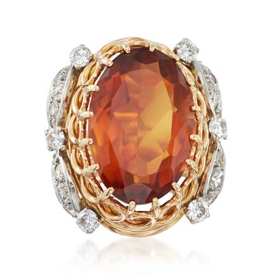 C. 1960 Vintage 11.50 Carat Citrine and 1.10 ct. t.w. Diamond Ring in 18kt Two-Tone Gold