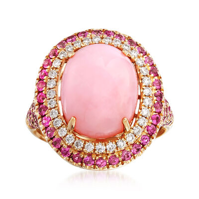 Pink Opal and 1.40 ct. t.w. Pink Sapphire Ring With .29 ct. t.w. Diamonds in 14kt Yellow Gold, , default