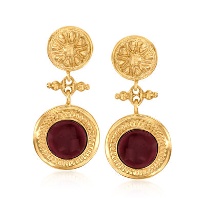 Italian Garnet Floral Drop Earrings in 18kt Gold Over Sterling