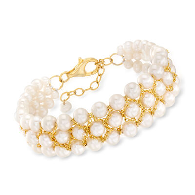 4-7.5mm Cultured Pearl Bracelet in 18kt Gold Over Sterling