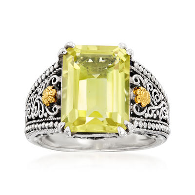 6.50 Carat Lemon Quartz Scroll Ring in Sterling Silver with 18kt Yellow Gold, , default
