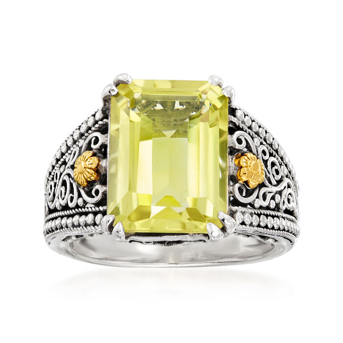 6.50 Carat Lemon Quartz Scroll Ring in Sterling Silver with 18kt Yellow Gold