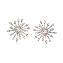 .48 ct. t.w. Diamond Snowflake Earrings in 14kt White Gold, , default
