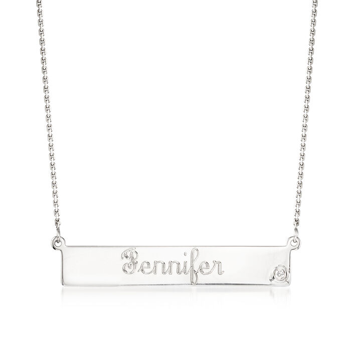 Sterling Silver Name Bar Necklace with CZ Accent