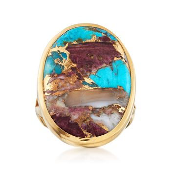Oval Kingman Turquoise Ring in 18kt Yellow Gold Over Sterling Silver, , default