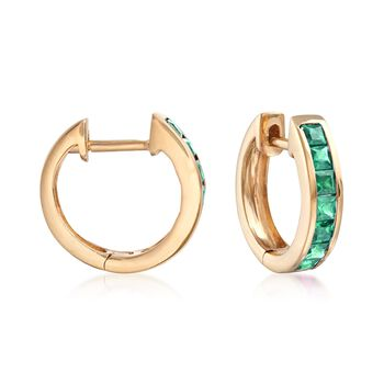 ".60 ct. t.w. Square-Cut Emerald Huggie Hoop Earrings in 14kt Yellow Gold. 3/8"", , default"