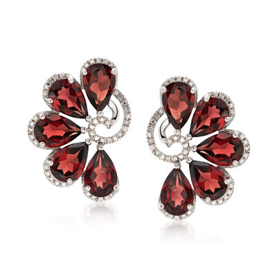 14.00 ct. t.w. Garnet and .10 ct. t.w. Diamond Earrings in Sterling Silver, , default