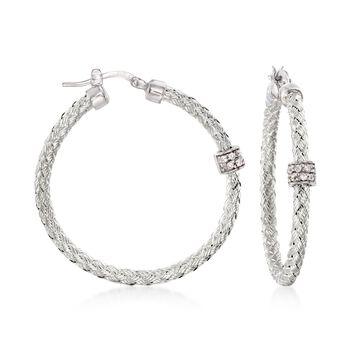 """Charles Garnier """"Torino"""" .20 ct. t.w. CZ Medium Hoop Earrings in Sterling Silver. 1 3/8"""", , default"""
