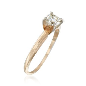 C. 1990 Vintage .45 Carat Diamond Ring in 14kt Yellow Gold. Size 6