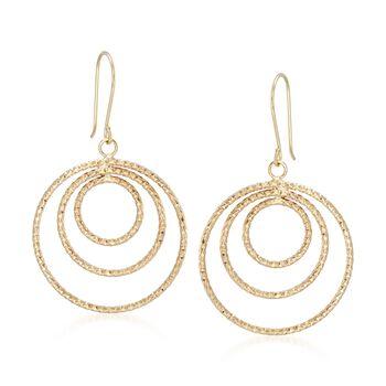 14kt Yellow Gold Triple Circle Drop Earrings, , default