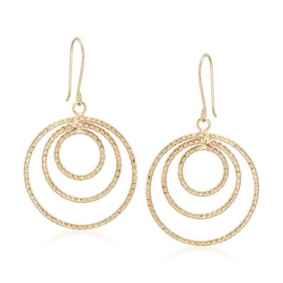 14kt Yellow Gold Triple Circle Drop Earrings, , default