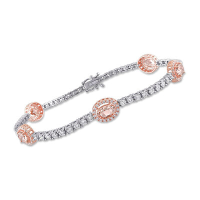 2.50 ct. t.w. Morganite and 1.96 ct. t.w. Diamond Tennis Bracelet in 14kt Two-Tone Gold