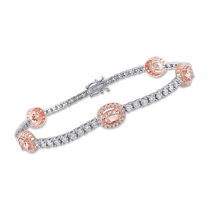 """2.50 ct. t.w. Morganite and 1.96 ct. t.w. Diamond Tennis Bracelet in 14kt Two-Tone Gold. 7"""""""