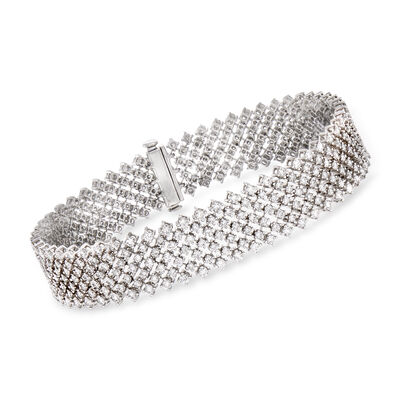 6.48 ct. t.w. Diamond Small Mesh Bracelet in 18kt White Gold, , default