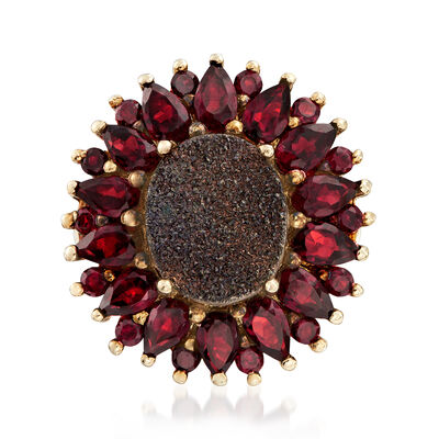 Brown Drusy and 3.80 ct. t.w. Garnet Flower Ring in 18kt Gold Over Sterling, , default