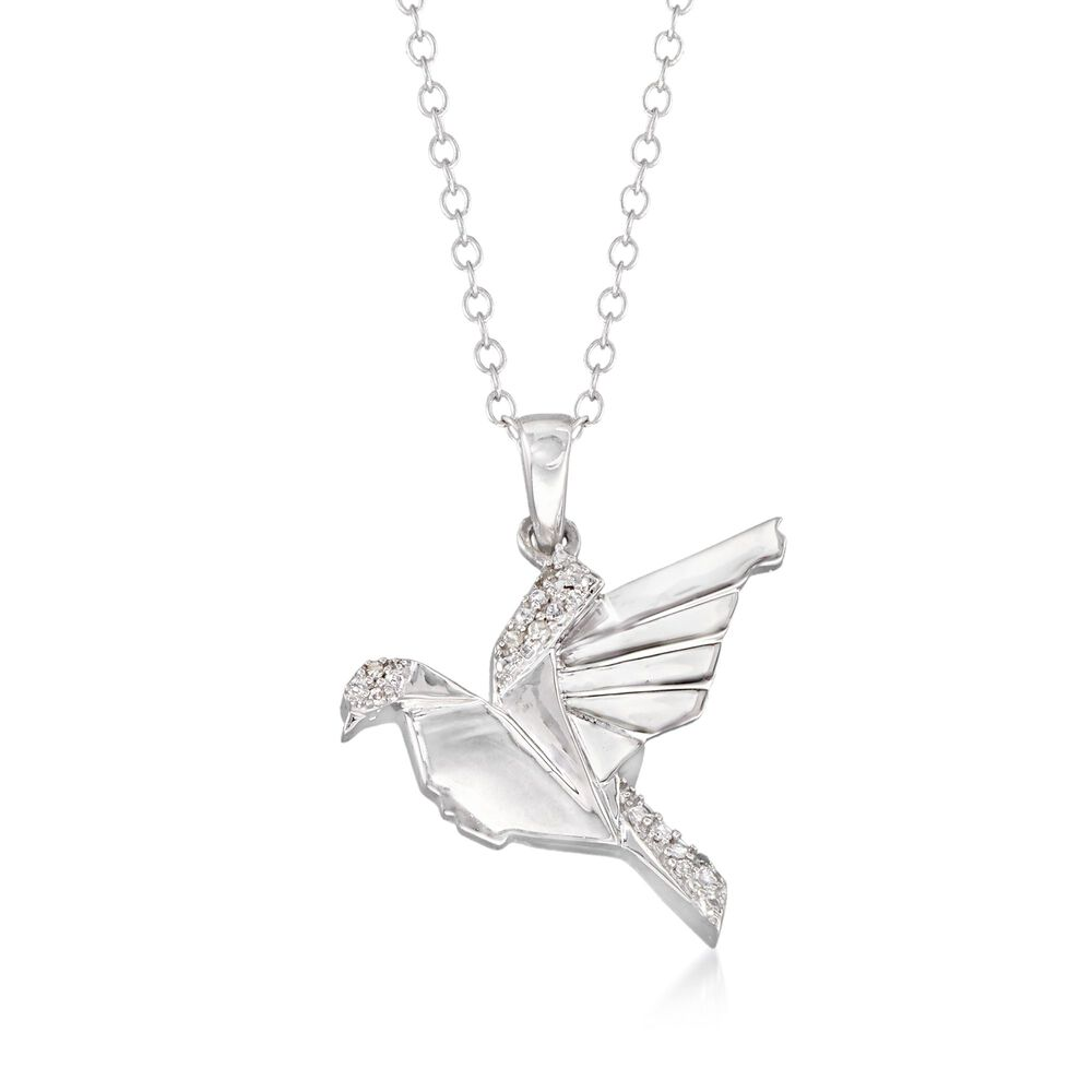 Sterling Silver Bird Pendant Necklace With Diamond Accents. 18 quot  378c1b6f3