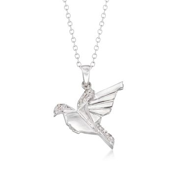 "Sterling Silver Bird Pendant Necklace With Diamond Accents. 18"", , default"