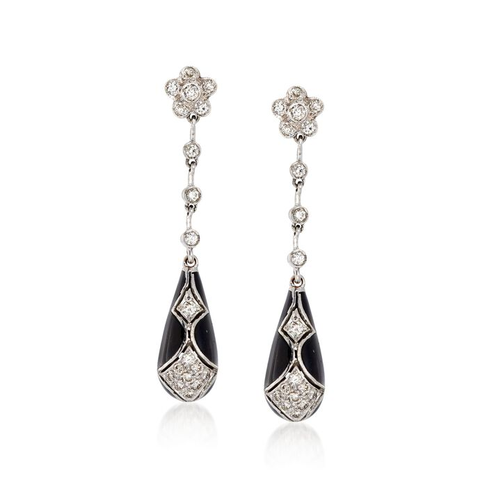 C. 1990 Vintage .75 ct. t.w. Diamond and Black Enamel Drop Earrings in 18kt White Gold