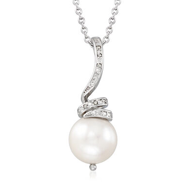 10-11mm Cultured Pearl Pendant Necklace with Diamond Accents in Sterling Silver