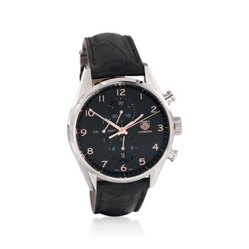 TAG Heuer Carrera 1887 Men's 43mm Chronograph Stainless Steel Watch With Black Alligator Strap , , default