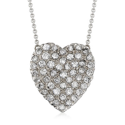 C. 1980 Vintage 1.50 ct. t.w. Pave Diamond Heart Necklace in 14kt White Gold, , default