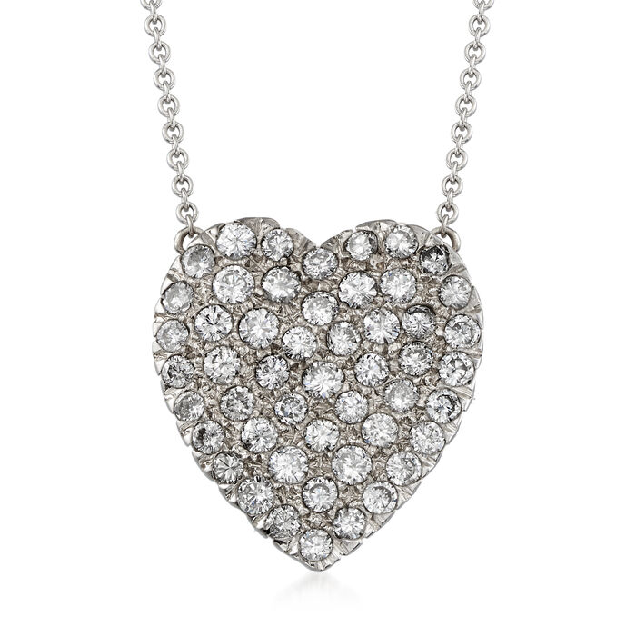 """C. 1980 Vintage 1.50 ct. t.w. Pave Diamond Heart Necklace in 14kt White Gold. 16.25"""""""