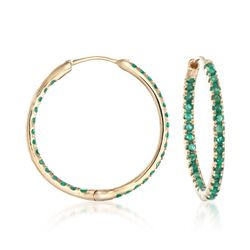 ".90 ct. t.w. Emerald Inside-Outside Hoop Earrings in 14kt Yellow Gold. 7/8"", , default"