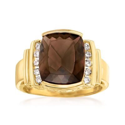 C. 1980 Vintage 4.40 Carat Smoky Quartz and .20 ct. t.w. Diamond Ring in 14kt Yellow Gold