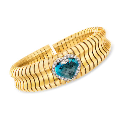 C. 1980 Vintage Legnazzi 8.75 Carat Blue Topaz and .55 ct. t.w. Diamond Heart Bracelet in 18kt Yellow Gold, , default