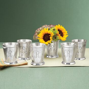 Set of 6 Silverplate Personalized Mint Julep Cups, , default